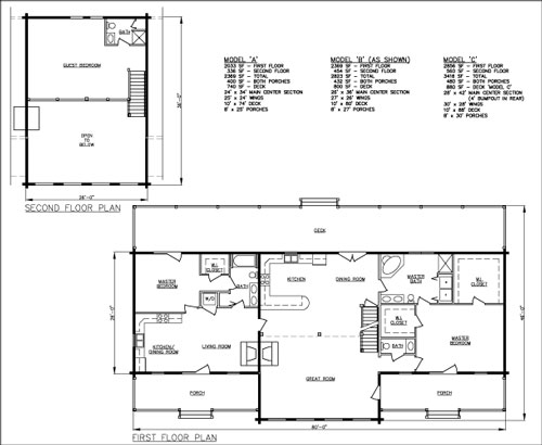 The Companion 2-family log home floorplan