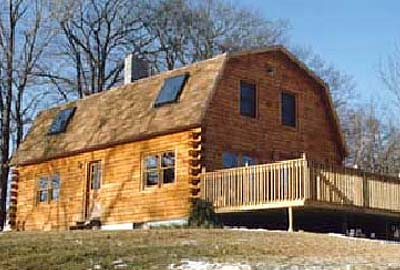 Gambrel log home log home kits plans for Gambrel barn homes kits
