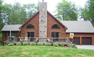 The Harmony two-family log home