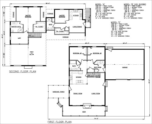 Harmony Two-family log home Floor Plan