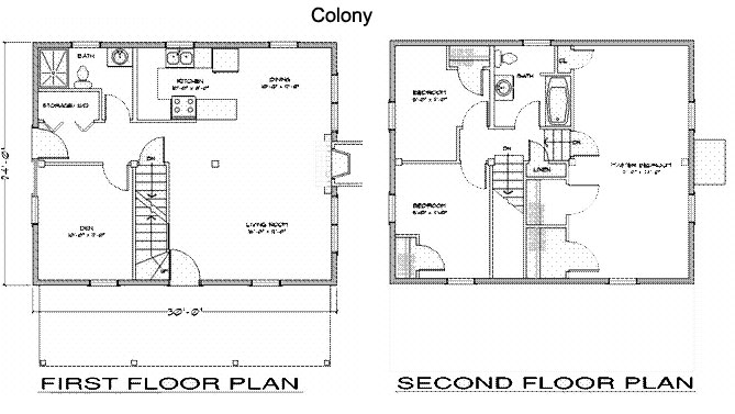Colony post beam timber frame home kits plans for Post and beam floor plans