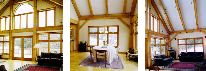 Swanzey post beam timber frame home for Timber frame home interiors