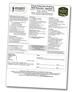 Crockett Log Homes Materials List