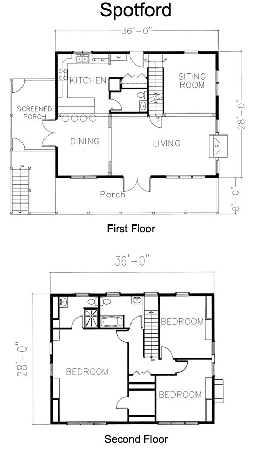 Spotford Timber Frame Post & Beam Home floorplan