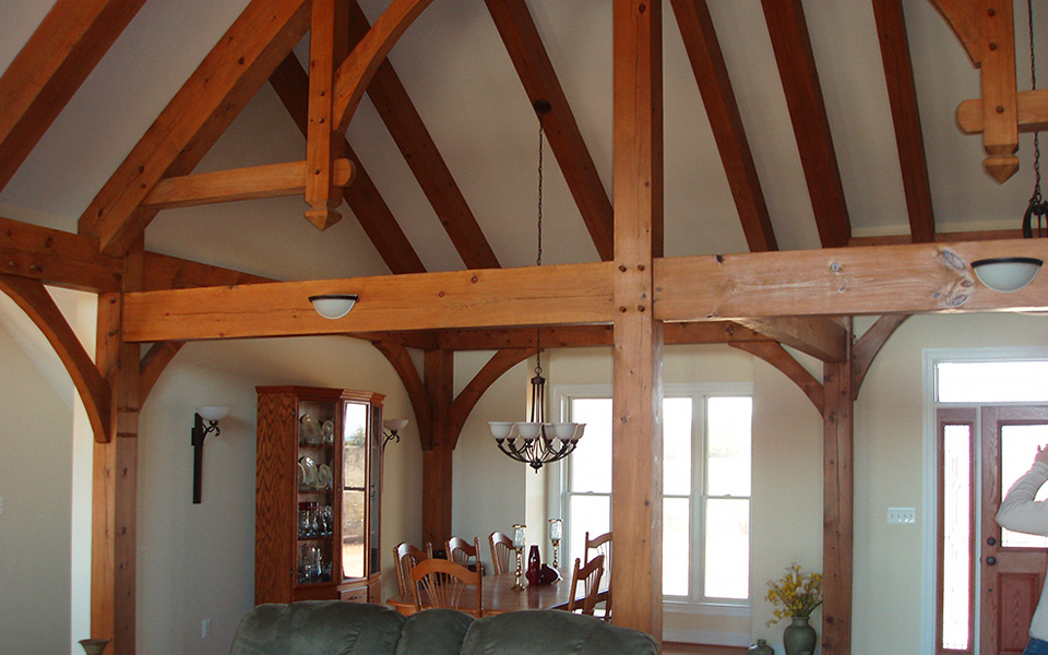 timber frame house interior